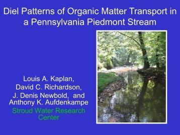 Diel Patterns of Organic Matter Transport in a Pennsylvania ...