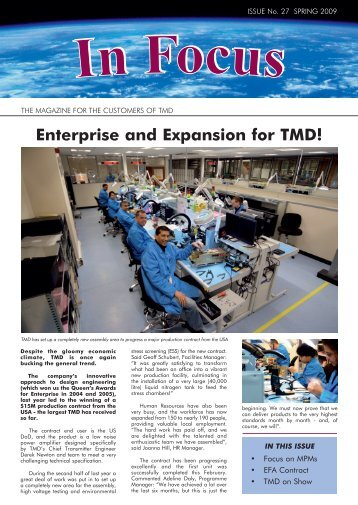 J74612 IN FOCUS March 2009.indd - TMD Technologies Limited