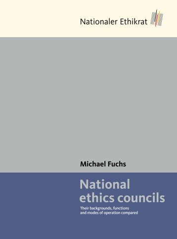Michael Fuchs National ethics councils - Deutscher Ethikrat