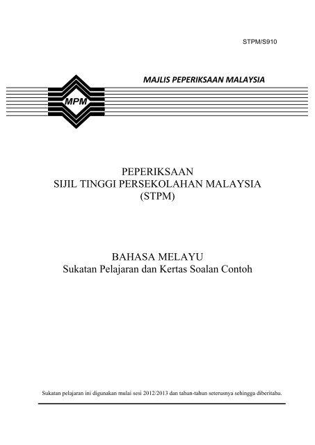 910 Sp Bahasa Melayu Jabatan Pelajaran Kedah