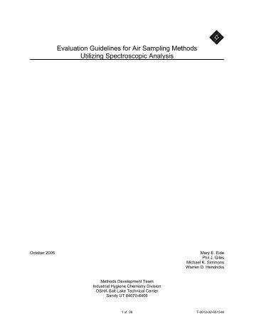 Evaluation Guidelines for Air Sampling Methods Utilizing ...