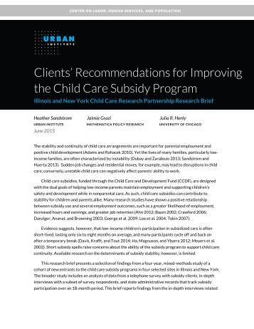 child care subsidy handbook