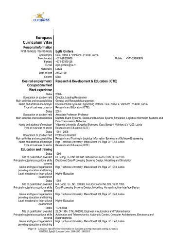 See Prof. E. Ginters CV (pdf) - Sociotechnical Systems Engineering ...