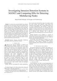 Investigating Intrusion Detection Systems in MANET and Comparing ...