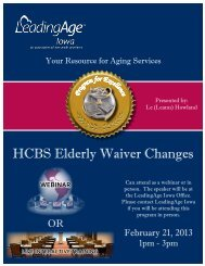 HCBS Elderly Waiver Changes - Iowa Association of Homes ...