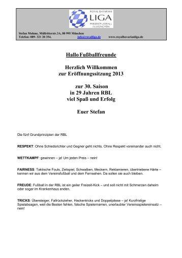 Information zur Saison 2013