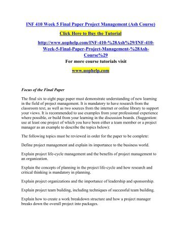 Inf 410 project management