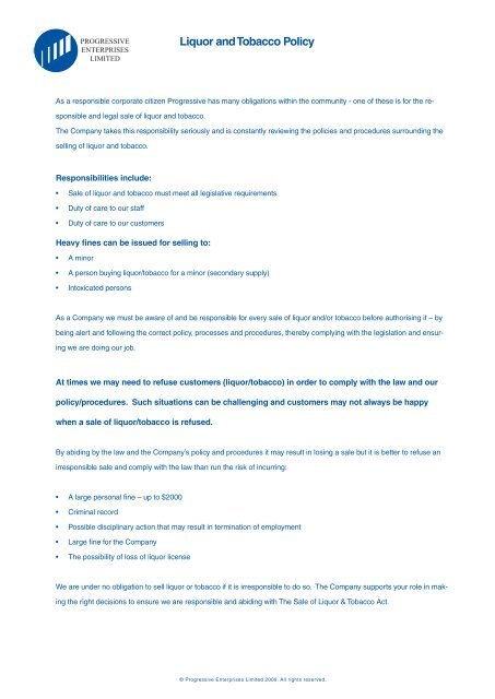 Liquor act.indd - Progressive Enterprises