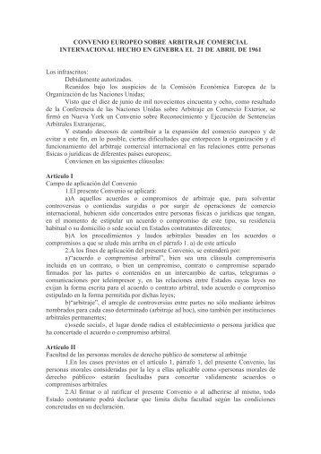 CONVENIO EUROPEO SOBRE ARBITRAJE COMERCIAL ...