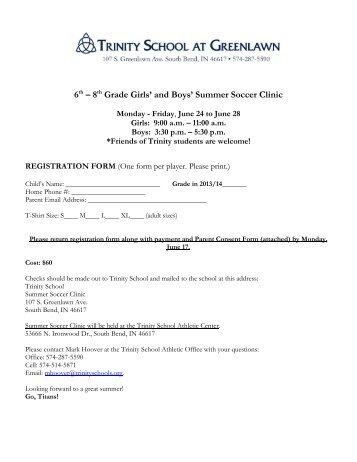 Summer Soccer Reg form - Trinity School