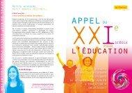 Téléchargez l'Appel du XXIe siècle pour l'Éducation (pdf, 231.92 Kb)