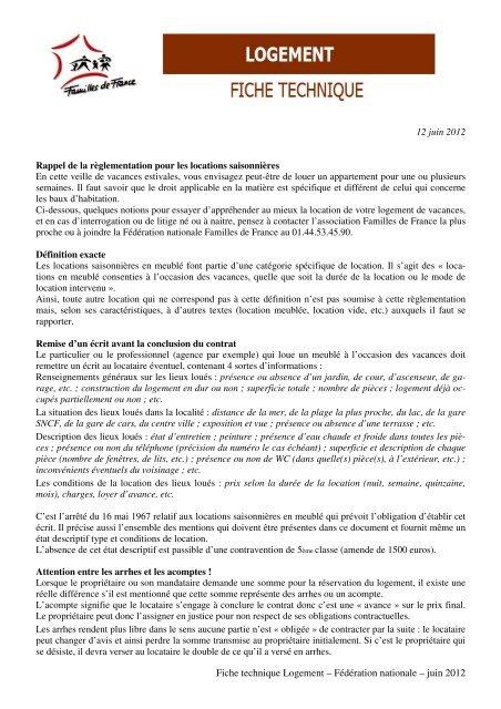 Fiche technique Logement – Fédération nationale – juin 2012 12 ...