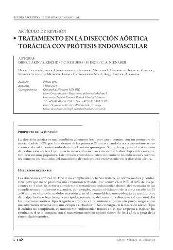 tratamiento en la disección aórtica torácica con ... - caccv.org.ar
