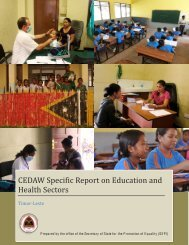 Timor Leste CEDAW Specific Report on Education and Health Sectors