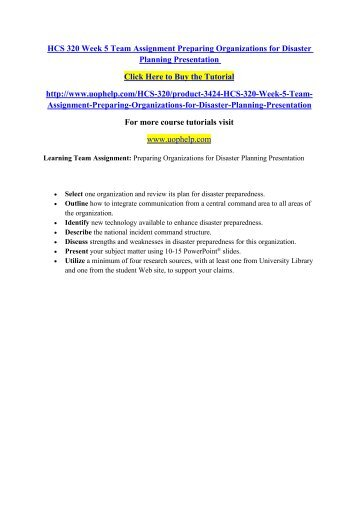 hcs 320 week 5 assignment communication Format your assignment,  hcs 320 week 5 individual communication and crisis paper  hcs 320 entire course march 18, 2014.