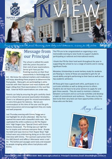 Mary Nixon Message from our Principal - nghs.school.nz