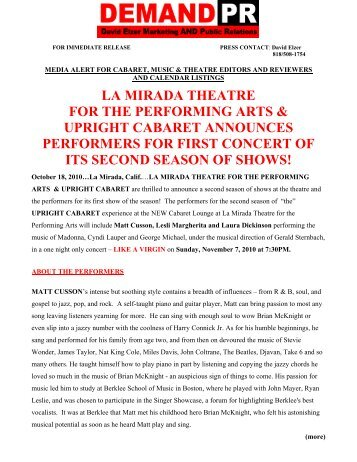 media alert for cabaret, music & theatre editors - La Mirada Theatre ...