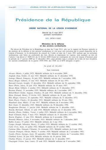 Légion d'Honneur - Anciens du RICM