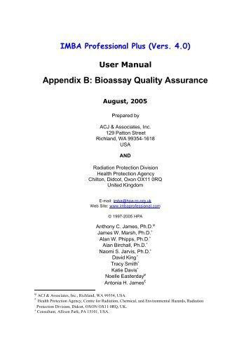 User Manual Appendix B - Radiation Protection Services