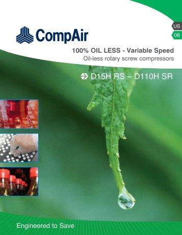 Oil-less rotary screw compressors - Air Mac