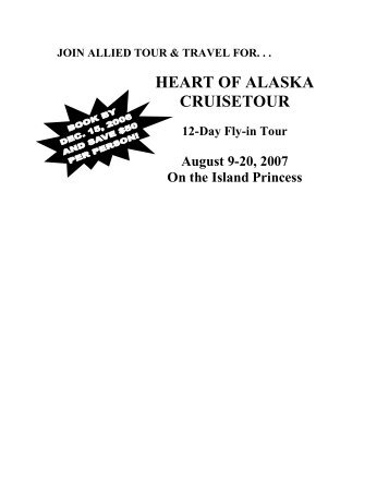 Alaska Cruise August doc - Allied Tour and Travel
