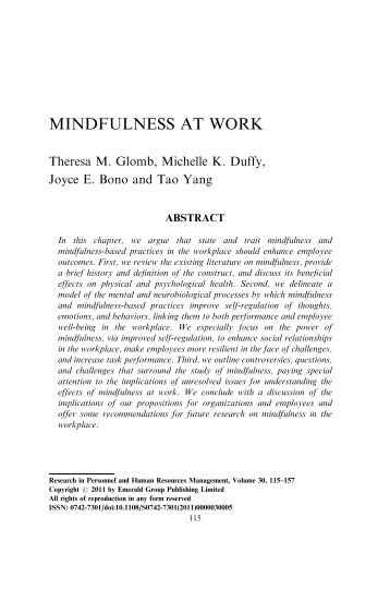 Mindfulness at work (Glomb, Duffy et al, 2012) - Human Resources