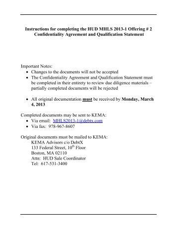 Confidentiality Agreement And Bidder Qualification Statement  Debtx