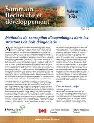 Sommaire Recherche et développement - Programme Valeur au Bois