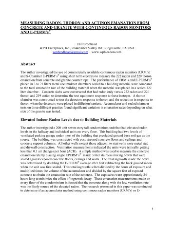 Measuring Emanation Rates - Radon Leaders Saving Lives