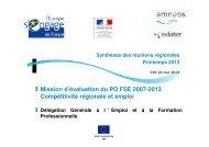 note de synthèse - Fonds Social Européen en France