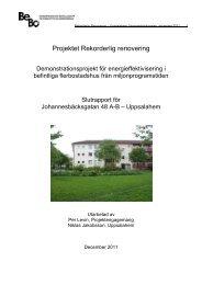 Bilaga: Tabeller Johannesbäcksgatan 48, Gröna Gatan 2 - BeBo