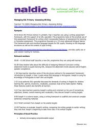 Managing EAL Primary Assessing Writing (58kb) - NALDIC
