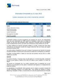 Information trimestrielle au 31 mars 2013 - Business Immo