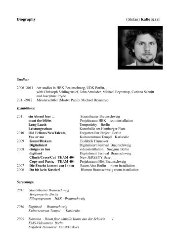 Biography (Stefan) Kalle Karl