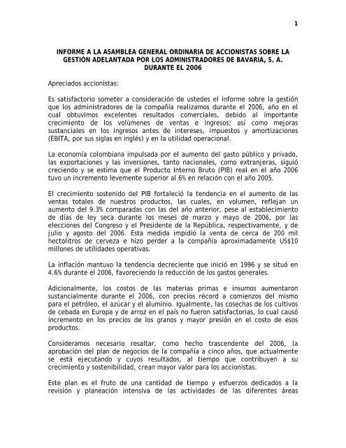 Informe A La Asamblea General Ordinaria De Accionistas