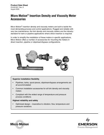 Micro Motion® Insertion Density and Viscosity Meter Accessories