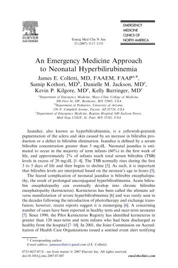 An Emergency Medicine Approach to Neonatal ... - MD Consult