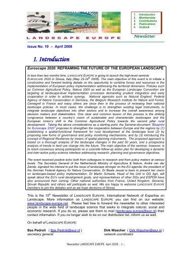 Newsletter April 2008 - Landscape Europe