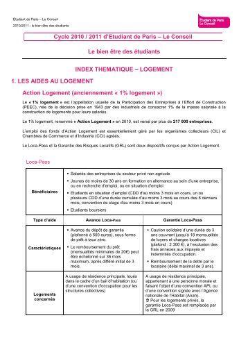 Etudiant de Paris - Le Conseil - Index thématique - le log–