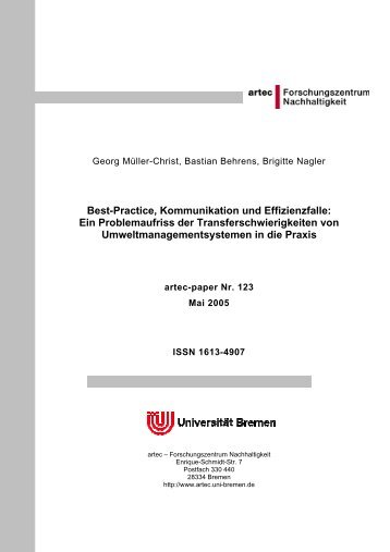 Best-Practice, Kommunikation und Effizienzfalle - Fachbereich ...