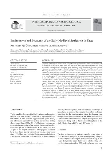 Environment and Economy of the Early Medieval Settlement in Žatec