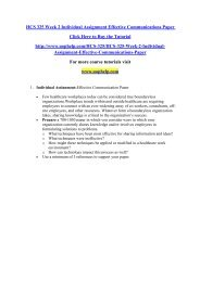 HCS 325 Week 2 Individual Assignment Effective Communications Paper/uophelp