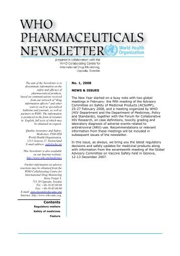 WHO Pharmaceuticals Newsletter 2008, No. 01 - World Health ...