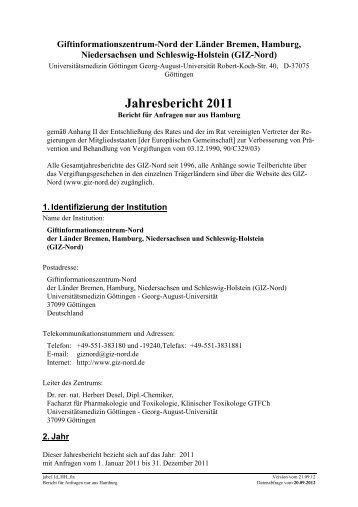 Jahresbericht 2011 Hamburg - Giftinformationszentrum-Nord