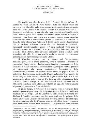 2. La parola di Dio e la storia: a quarant'anni dal Concilio Vaticano II dI