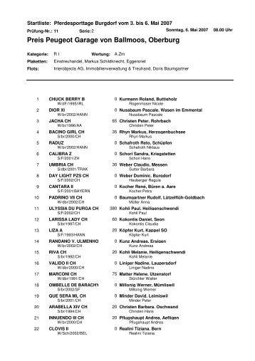 Preis Peugeot Garage von Ballmoos, Oberburg - Pferdesporttage in ...