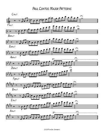 Paul Contos Major Scale Patterns - mo' better blues