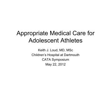 Appropriate Medical Care for Adolescent Athletes - The Connecticut ...
