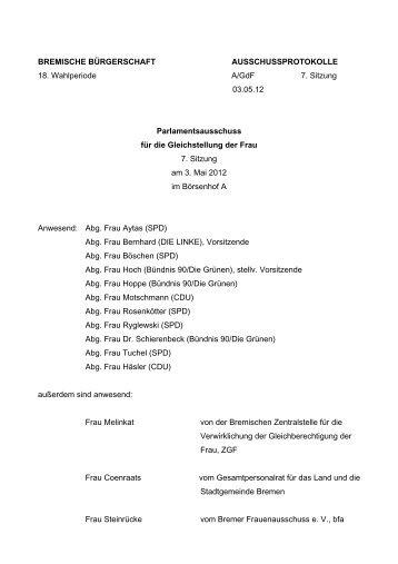 Protokoll der 7. Sitzung (pdf, 49.2 KB) - Gleichstellungsausschuss