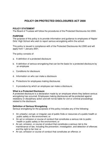 policy on protected disclosures act 2000 - Napier Girls' High School